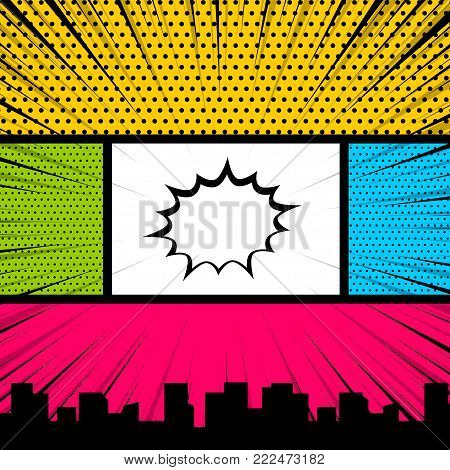 Text speech bubble balloon, box message, burst bomb. Cartoon funny vintage strip comic city view. Pop art comics book magazine cover template. Vector colored halftone illustration. Blank humor graphic