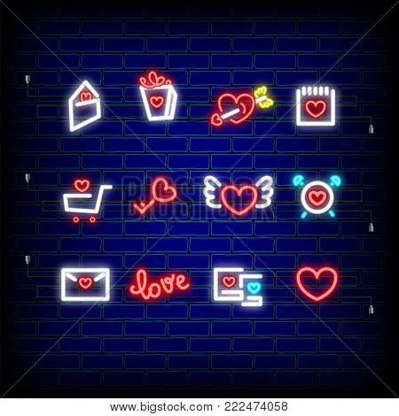 Mail, photo frame, key Neon happy Valentine's Day set icon. Valentine lamp romance heart collection shape. Red color vector light. Nightclub bulb dark brick wall. Holiday love greeting icons.