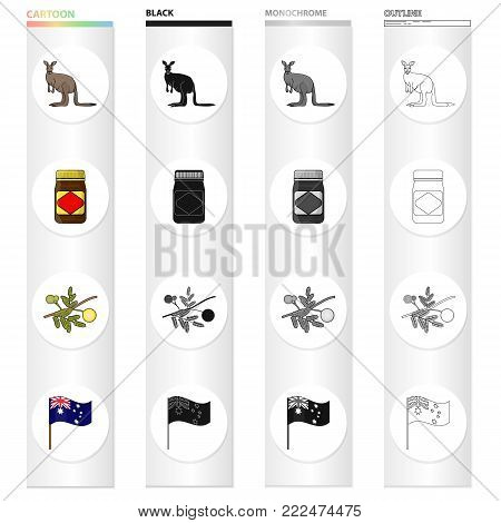 Kangaroo, apple sauce chutney, Australian acacia, wattle, national flag. Australia set collection icons in cartoon black monochrome outline style vector symbol stock illustration .