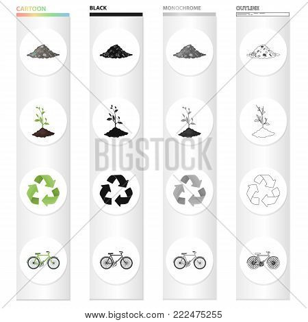 A pile of garbage, an environmentally friendly plant, a bio sign, a green arrow, a bicycle. Ecology set collection icons in cartoon black monochrome outline style vector symbol stock illustration .