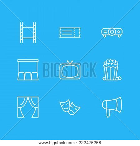 illustration of 9 cinema icons line style. Editable set of megaphone, slideshow, tv and other elements.
