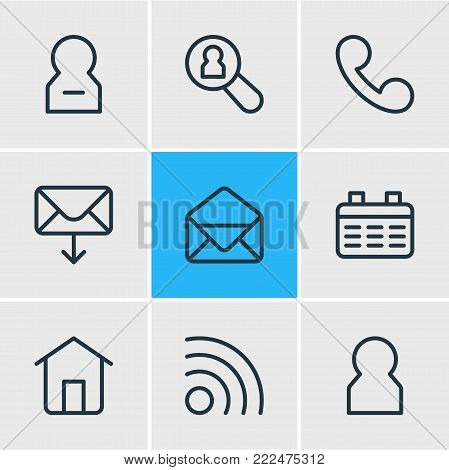 illustration of 9 connect icons line style. Editable set of correspondence, network, delete account and other elements.