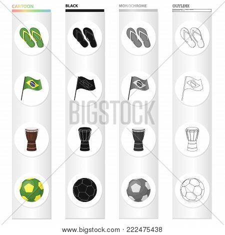 Beach flip flops, the national flag of Brazil, a carnival drum, a soccer ball. Brazil set collection icons in cartoon black monochrome outline style vector symbol stock illustration .