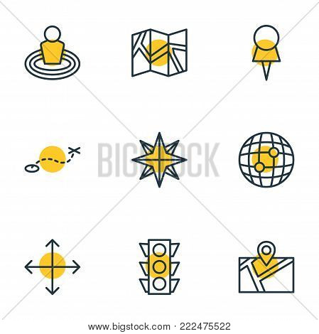 illustration of 9 navigation icons line style. Editable set of paper geography, path, marker and other elements.