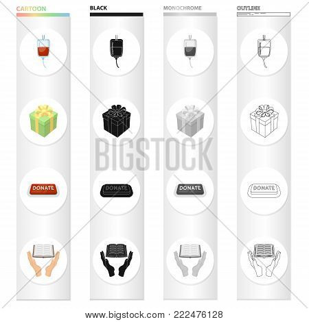 Donor blood, a charitable gift, a donation button, a book. Charity and donation set collection icons in cartoon black monochrome outline style vector symbol stock illustration .