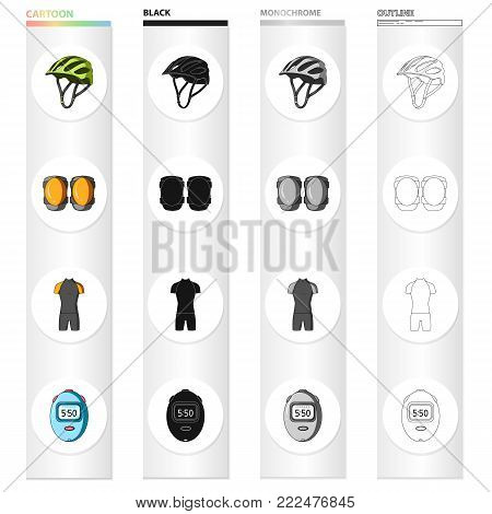 Bicycle outfit cartoon black monochrome outline icons in set collection for design. Bicycle and tool vector symbol stock illustration.