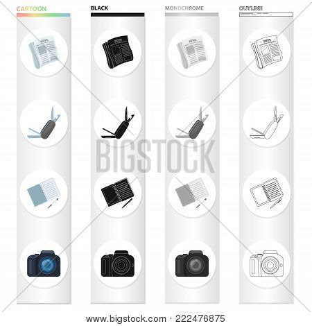 Detective and Attributes cartoon black monochrome outline icons in set collection for design.Detective Agency vector symbol stock illustration.