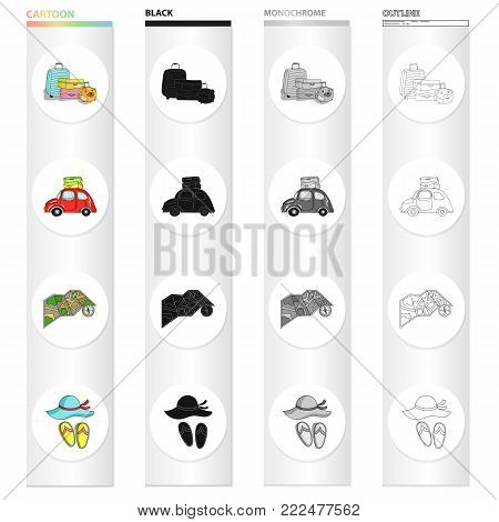 Baggage, a car with things, a map and a compass, a hat and slippers. Family holiday set collection icons in cartoon black monochrome outline style vector symbol stock illustration .