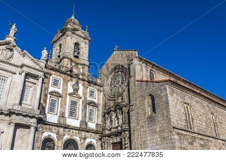 Saint Francis Church frontage and tower in Porto city, Portugal