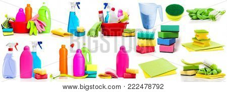 Collage of photos detergent and cleaning supplies isolated