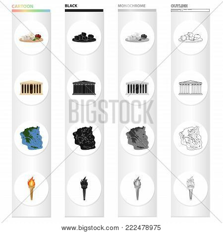 Greek feta cheese, Antique greek temple , the territory of Greece, a torch. Greece set collection icons in cartoon black monochrome outline style vector symbol stock illustration .