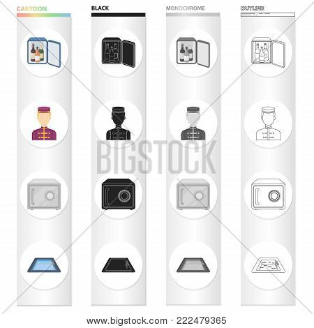 Mini-bar, hotel staff, safe in the room, swimming pool. Hotel set collection icons in cartoon black monochrome outline style vector symbol stock illustration .