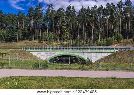 Passage for wild animals under the national road near Olsztyn, Poland
