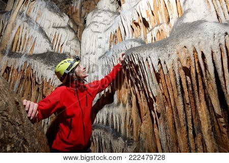 Caving in Hermosa Cave, Zaragoza Province, Aragon, Spain.