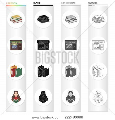 A bookstore, a stack of books in the library, a folder with a sticker, a girl with a book. Library set collection icons in cartoon black monochrome outline style vector symbol stock illustration .