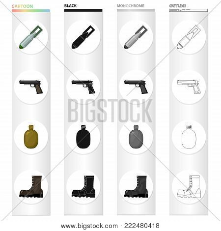 An air bomb, a pistol, a soldier's flask, an army boot. The military and the army set collection icons in cartoon black monochrome outline style vector symbol stock illustration .
