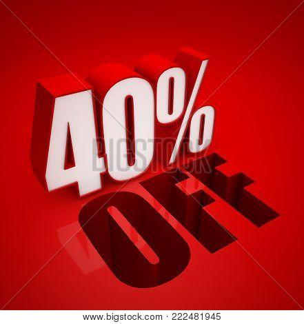 3D illustration of 40% Percent off - Discount