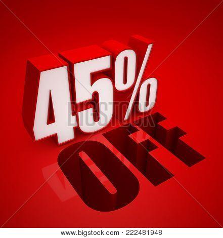 3D illustration of 45% Percent off - Discount