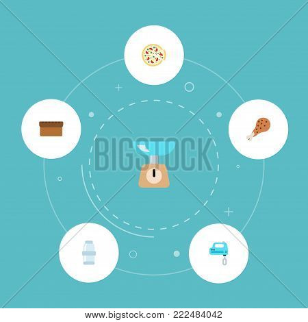 Icons flat style bread, salt, mixer and other vector elements. Set of food icons flat style symbols also includes leg, scales, bread objects.
