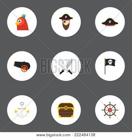 Icons flat style anchor, black mark, pirate and other vector elements. Set of piracy icons flat style symbols also includes pirate, flag, costume objects.