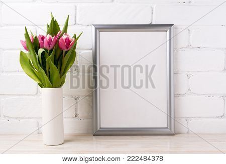 Silver Frame Mockup With Pink Tulips In Vase