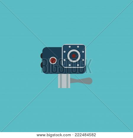 Icon flat action cam element.  illustration of icon flat camera isolated on clean background. Can be used as action, cam and record symbols.