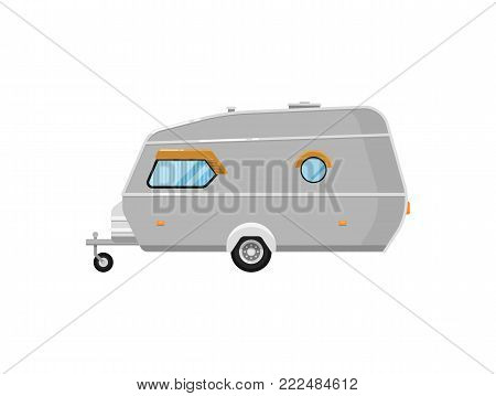 Mobile home isolated on white icon. Camping trailer for country and nature vacation. Side view recreational vehicle van vector illustration in flat syle.