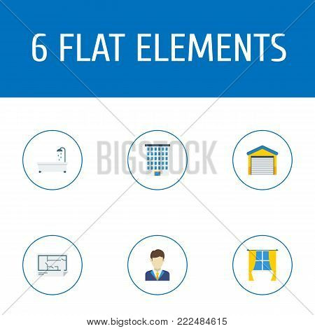 Icons flat style garage, bathtub, realtor and other  elements. Set of immovable icons flat style symbols also includes floor, water, building objects.