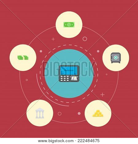 Icons flat style teller machine, safe, gold bars and other  elements. Set of banking icons flat style symbols also includes money, bank, safe objects.