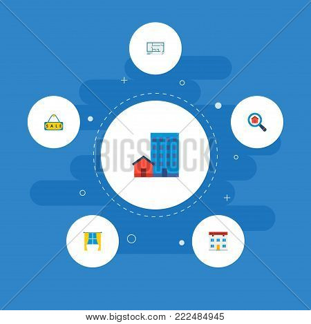 Icons flat style window, sale sign, office and other  elements. Set of immovable icons flat style symbols also includes sale, discount, options objects.
