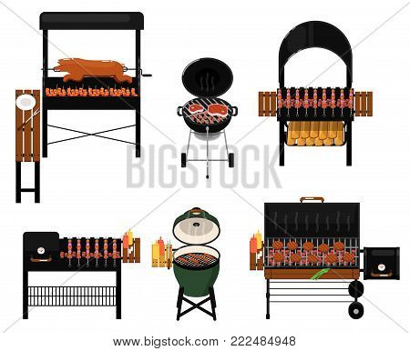 Different types barbecue grills isolated set. Charcoal and gas kettle grills with assorted delicious grilled meat vector illustration. BBQ party, traditional cooking food, restaurant menu elements.