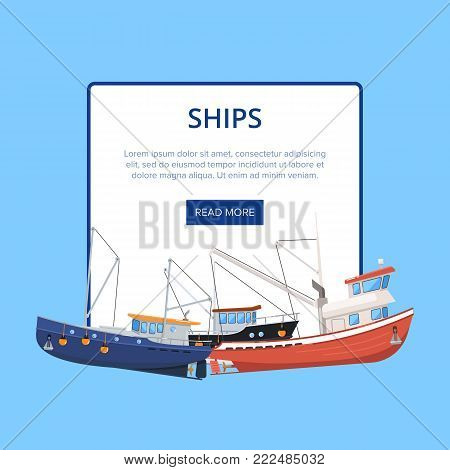 Vintage marine flotilla of ships poster. Commercial fishing trawlers for industrial seafood production vector illustration. Fishing boats, sea nautical transportation banner with space for text.