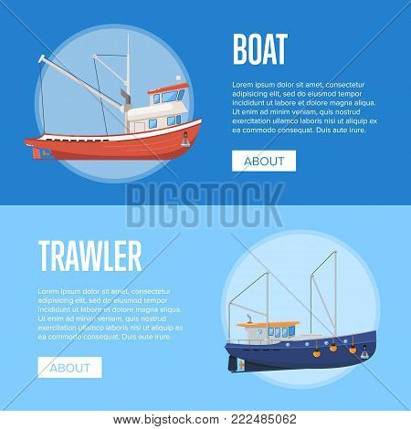 Fishing company flyers with boats. Commercial fishing trawlers for industrial seafood production vector illustration. Vintage marine fleet of ships, ocean nautical transportation, fish business.