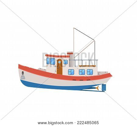 Commercial fishing trawler isolated on white icon. Side view ocean fishing vessel for industrial seafood production vector illustration.