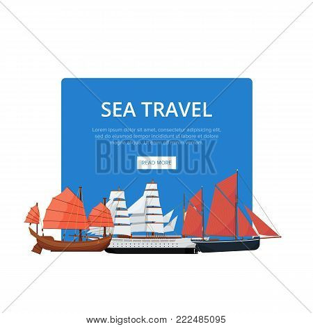 Sea travel poster with group of nautical sailboats. Vintage marine cruise ship, passenger vessel transportation vector illustration. Outdoor yachting, sailing sport, worldwide ocean regatta race.