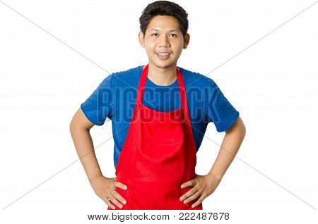 Asian man wear red apron isolated on white background