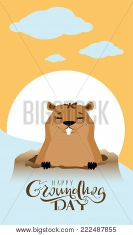 Happy Groundhog Day text greeting card. Marmot got out of hole. Vector cartoon illustration