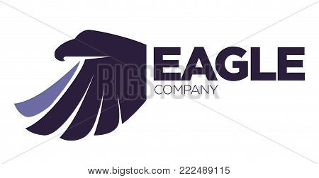 Eagle bird or fantasy logo template for security or innovation company. Vector isolated icon of mythic firebird spread wings symbol, flame fire phoenix for airline or tattoo design