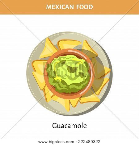 Guacamole and crispy chips on plate from traditional Mexican food isolated cartoon flat vector illustration on white background. Cold appetizer of scraped avocado pulp with consistency of thick sauce.
