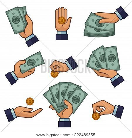 Hand and money cash dollar banknotes and coins icons for bank or online banking and ATM cash-in or withdrawal design template. Vector isolated set of hand holding money and coins for pay or buy