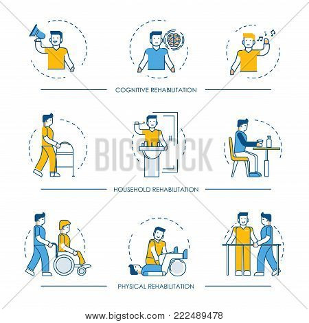 Rehabilitation icons for cognitive, physical and household rehabilitation medicine therapy. Vector line symbols of human and nurse or medical hospital assistant or physician doctor for infographics