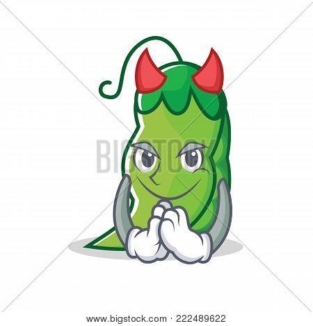Devil peas mascot cartoon style vector illustration
