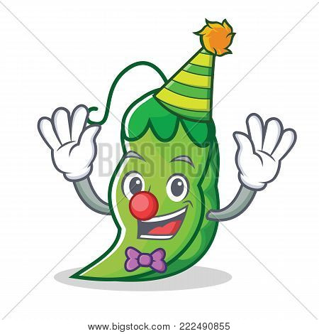 Clown peas mascot cartoon style vector illustration