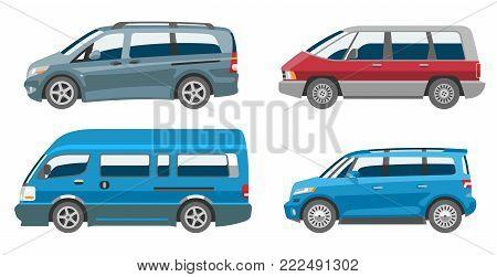 Minivan car vector van auto vehicle family minibus vehicle and automobile banner isolated citycar on white background illustration.