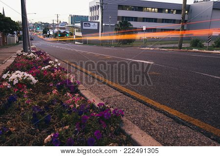 Ipswich, Australia - Tuesday 16Th January 2018: View Of Ipswich City Street Traffic At Night On Tues