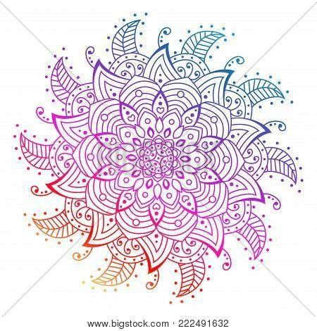 Vector flower Mandala. decorative elements. rainbow outline Mandala. Oriental circle pattern, asian, Arabic, Indian, Floral mandala Isolated on White.