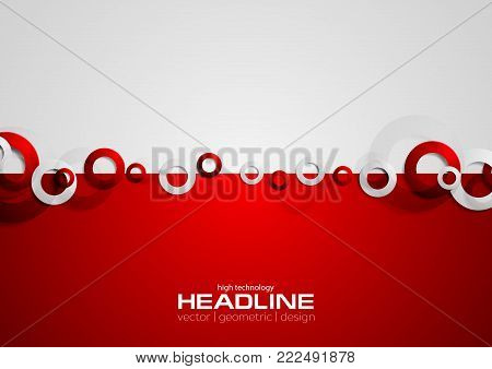 Contrast red and grey tech background with rings. Vector technology design