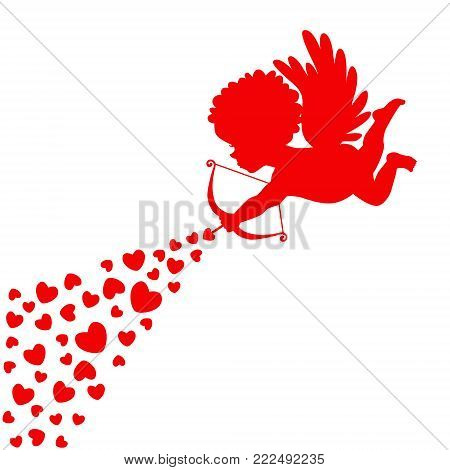 Silhouette of Cupid on a white background, shoots hearts. Valentine's Day