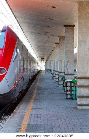 Modern High Speed Train At Train Station