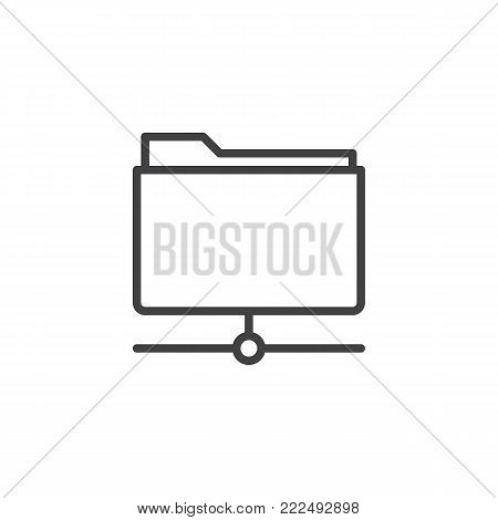 Folder share line icon, outline vector sign, linear style pictogram isolated on white. File data center server symbol, logo illustration. Editable stroke